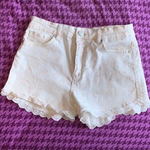 White flowered shorts